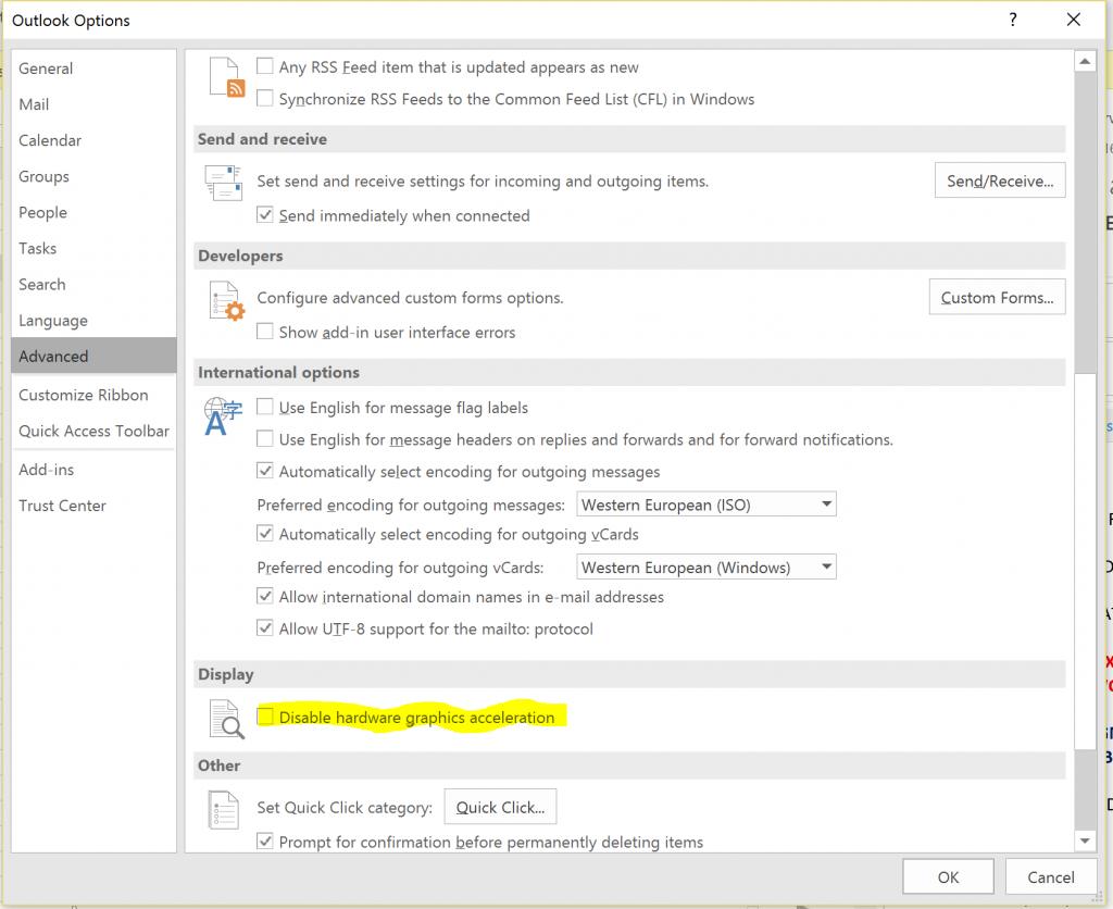 Outlook 2016 Option Dissable Hardware Graphics Acceleration